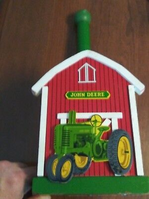 John Deere Paper Towel Holder with red barn and green tractor..wooden..RARE !!!