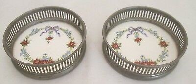 Pair of Vintage Ceramic & Pewter Coasters - Floral Design