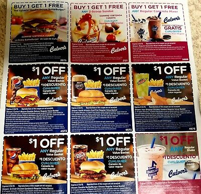 (2 sheets) Culvers coupons, exp 2/24