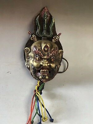 Chinese Antique Tibetan Buddhism handmade King Kong Buddha mask Home decoration