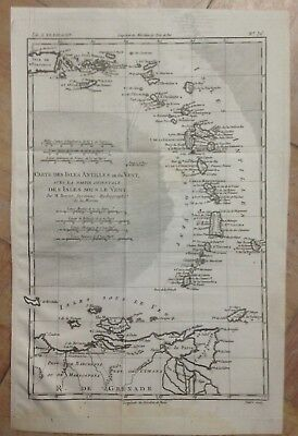 Caribbean Virgin Islands 1780 Rigobert Bonne Antique Engraved Map 18Th Century