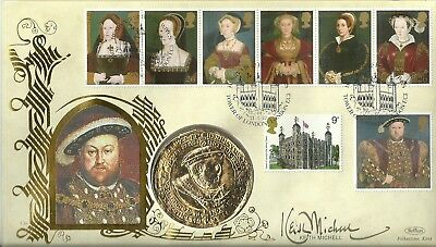 1997 King Henry VIII and his six wives PNC, signed by Keith Michell