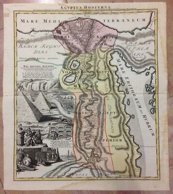 EGYPT by JB HOMANN 1720 18e CENTURY LARGE NICE ANTIQUE ENGRAVED MAP WITH VIEW
