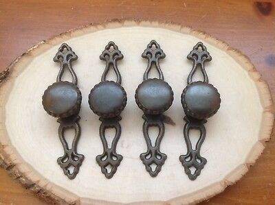 487 VTG French Provincial Knobs Wt Back Plates In Antique brass tone 4 available