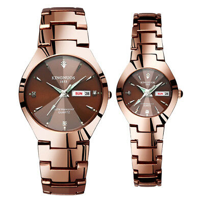 Men Women Stainless Steel Strap Week Date Watch Sport Crystal Quartz Wrist Watch