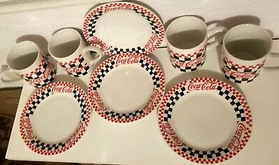 8 pc Gibson Dinnerware Coca-Cola Brand Checkered Dinner Plates & Cereal Bowls