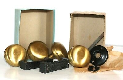 LOT OF 2 Vintage Interior Satin Brass Door Knob Handles Parts Only As Is GUC