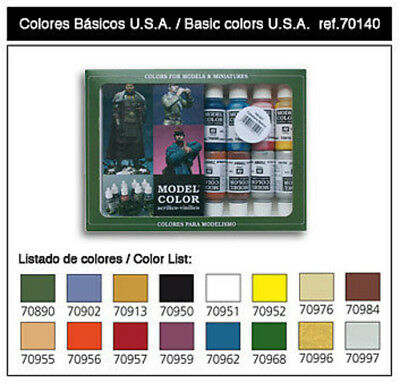 Vallejo 17ml Bottle Basic USA Model Color Paint Set (16 Colors) - Hobby and