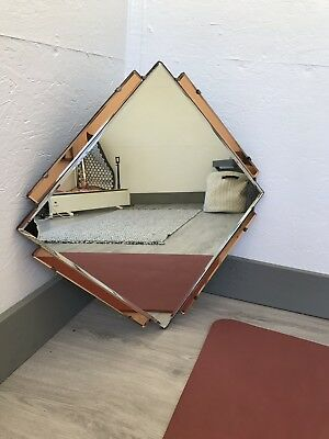 Art Deco Feature Wall Mirror, Colored Panels, Peach Copper OverMantle Mirror