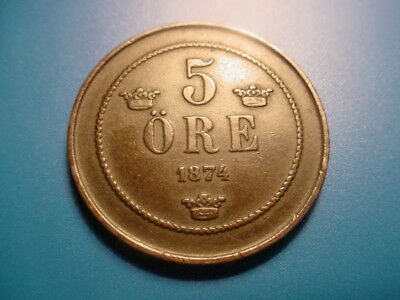 Sweden 1874 5-Ore In Very Nice Condition