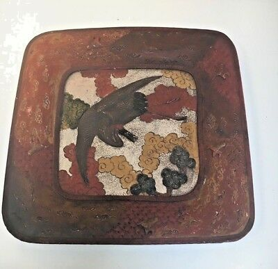Japanese Antique export carved relief clay pottery Plate Cranes,Flowers