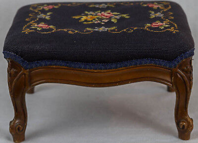 Antique Victorian Floral Hand Stitched Stool Footstool Wood-Carved Beautiful