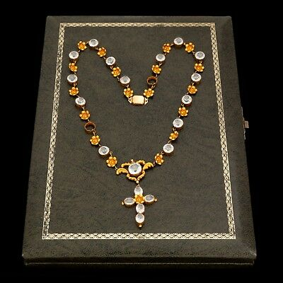 Antique Vintage Georgian 18k Gold Spanish Colonial Rosary Cross Wedding Necklace