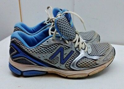 low priced 74768 97bae NEW BALANCE 580V2 Silver Blue Leather Athletic Sneakers Women's Shoe 9M  40.5 USA