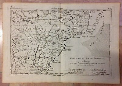 Southern Brazil Argentina 1780 Rigobert Bonne Antique Engraved Map 18Th Century