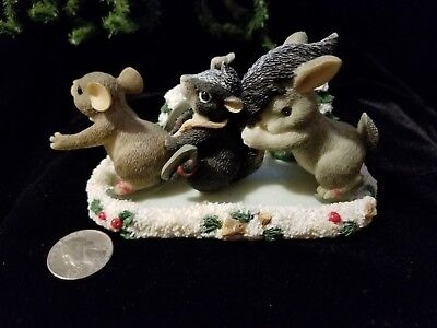 "Fitz and Floyd Charming Tails ""Skating Party"" Mouse/Skunk/Rabbit on Ice Figurine"