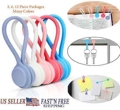 Magnetic Cable Cord Wire Management Organizer Reusable Silicone Magnet Clip Ties