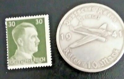 2 WWII lot. 1941 Hitler stamp and 1941 GERMAN 10 REICHSMARK FOCKE-WULF coin