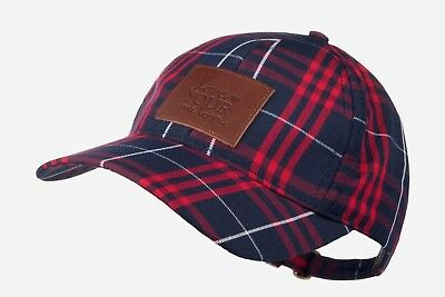 Love Your Melon LYM Red   Navy Blue Plaid Baseball Cap with Brown leather  patch dbdb566edd44