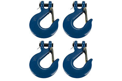 """4x 3/8"""" Chain Slip Safety Latch Hook Clevis Rigging Tow Winch Trailer Grade 70"""