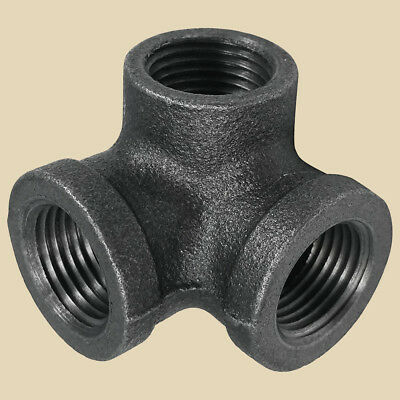 3/4 Inch CROSS TEE 3-Way MALLEABLE IRON fitting pipe npt Industrial Decor Style