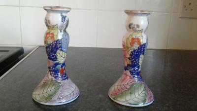 vintage chinese painted candlesticks signed on base