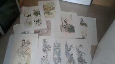 vintage Japanese prints x 15  on paper in folder