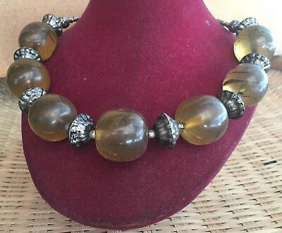 Rare Antique Yemen Silver beads / Big Round Amber Necklace Choker 100 Grams