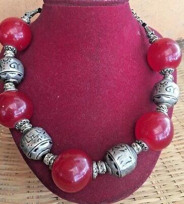 Rare Antique Yemen Silver globe beads / Red Round Amber Necklace Choker 121 GR