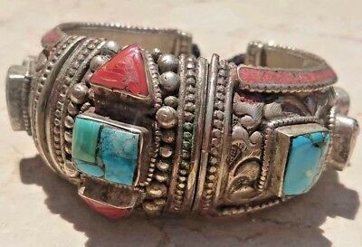 Antique Ethnic Silver & Brass Yemen Coral and Turquoise Inlaid Bracelet Cuff