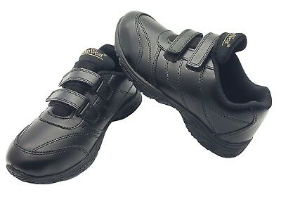 New Boys Back To School Shoes Kids Black Formal Uniform Smart Strap Size