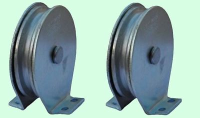 Flat Mount Wire Rope Pulley Blocks (1 pair) Zinc Steel Plated 525 Lb Load Cap.