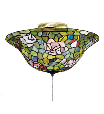 "Meyda Tiffany Stained Glass 16""W Tiffany Rosebush Flushmount Ceiling Light 27445"