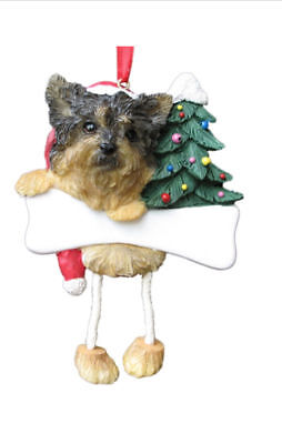 Yorkshire Terrier Yorkie Puppy Dangling Wobbly Leg Dog Bone Christmas Ornament