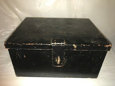 ANTIQUE VINTAGE BLACK METAL BOX DEED STORAGE CHEST Heavy Duty