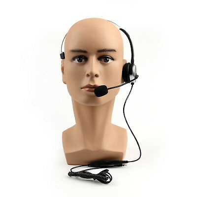 1Pc Adjustable Volume 4 Wired RJ9 Call Corded Telephone Headset Monaural Sil US