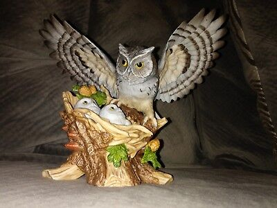 Homco 1993 Porcelain Sheltering Wings Screech Owls Bird Figurine MINT CONDITION