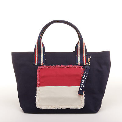 136d625ba09 TOMMY HILFIGER WOMEN'S Classic Tommy Chevron Canvas Tote Bag ...
