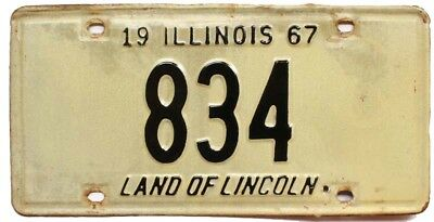 Vintage Illinois 1967 License Plate, 834, Low Number, 3-Digit, Garage Sign