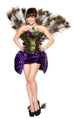 SEDUCTIVE PEACOCK M Roma Sexy Deluxe Vegas Showgirl Feathered Bird Costume 4329