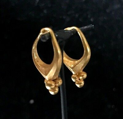 Ancient Parthian Faceted Solid Gold Earrings With Spheres 247 Bc