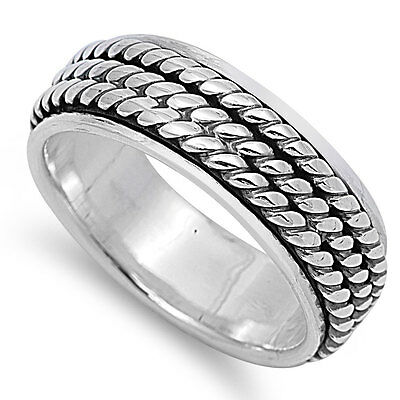 Sterling Silver Triple Twist Spinner Band Ring