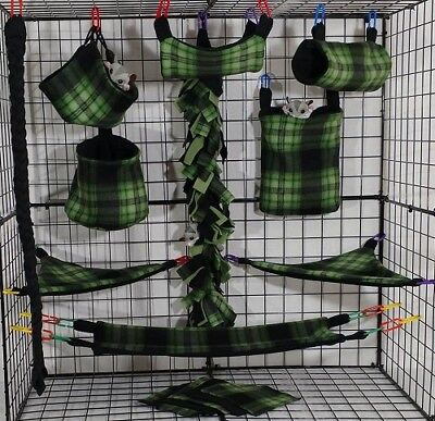Green  & Black Plaid* 15 PC Sugar Glider Cage set * Rat * double layer Fleece
