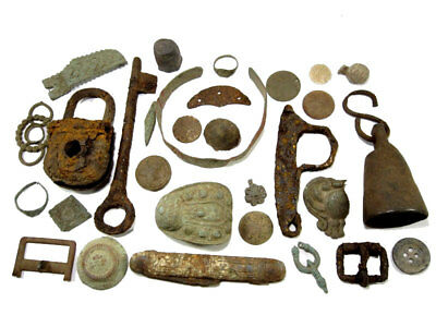 LOT of BROAD VARIETY ANTIQUE, VINTAGE METAL DETECTOR BRONZE & IRON FINDS!!!