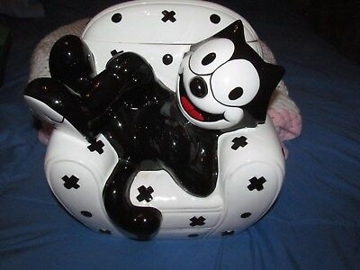Vintage 1997 CLAY ART - *FELIX The CAT - COOKIE JAR* - Laying on CHAIR...AS IS