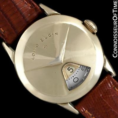 """1950's LORD ELGIN Direct Read """"Chevron"""" Digital Jump Hour Watch, 14K Gold Filled"""