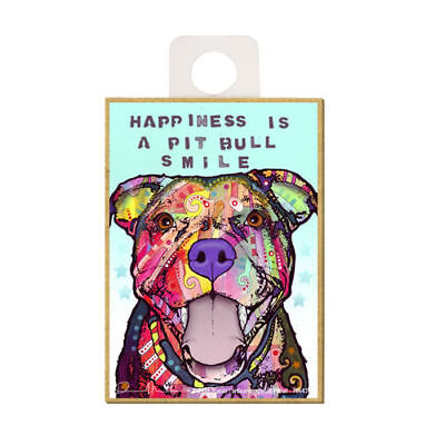 Pit Bull Happiness Is A Pit Bull Smile Dog Dean Russo Wood Fridge Magnet