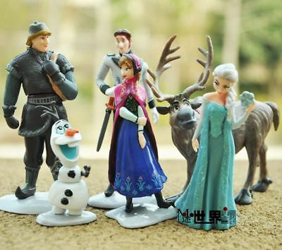6 Pieces Frozen Anna Elsa Olaf Sven Doll Loose Figurine Figure Cake Top Toy Set