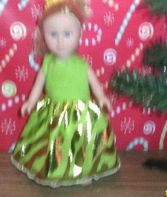"6-7"" Doll Clothes-fits My Life American Girl mini -Party Dress- Green Zebra"
