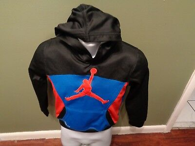 138ac37bc93069 Nike Air Jordan Jumpman Boy s Youth SMALL Therma Fit Fly Hoodie BLUE RED  BLACK